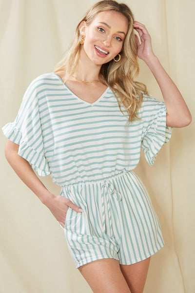 Charming You Boutique | Women's Bottom | Ruffled Sleeve Striped Romper