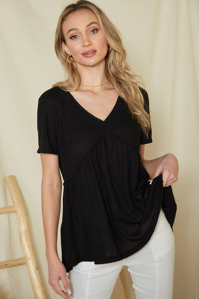 Charming You Boutique | Women's Top Short Sleeve Waffle Knit Babydoll