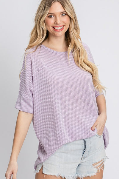 Charming You Boutique | Women's Top | Short Sleeve Solid Waffle Knit