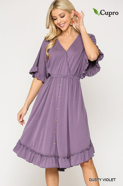 Charming You Boutique | Women's Modal Button Down V-Neck Dress, violet