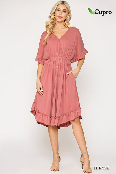Charming You Boutique | Women's Modal Button Down V-Neck Dress,lt rose
