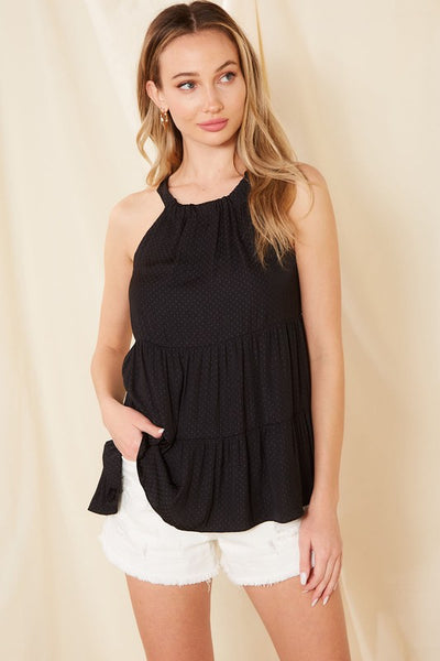 Charming You Boutique | Women's Crew Neck Woven Tank Top, black