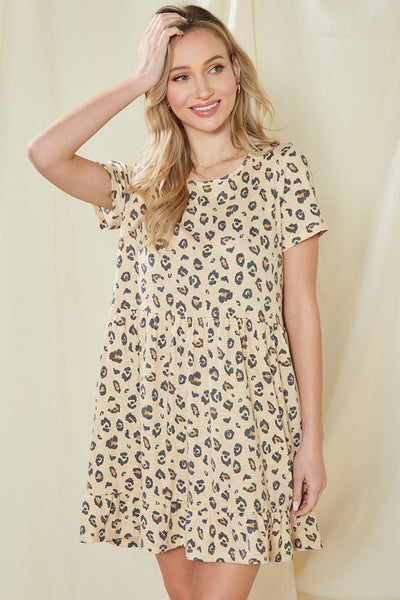Charming You Boutique | Women's Dress V-Neck Short Sleeve Animal Print