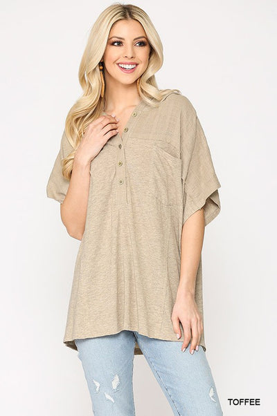 Charming You Boutique | Women's Button Down Hoodie Top, toffee