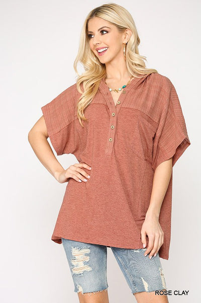 Charming You Boutique | Women's Button Down Hoodie Top, rose clay