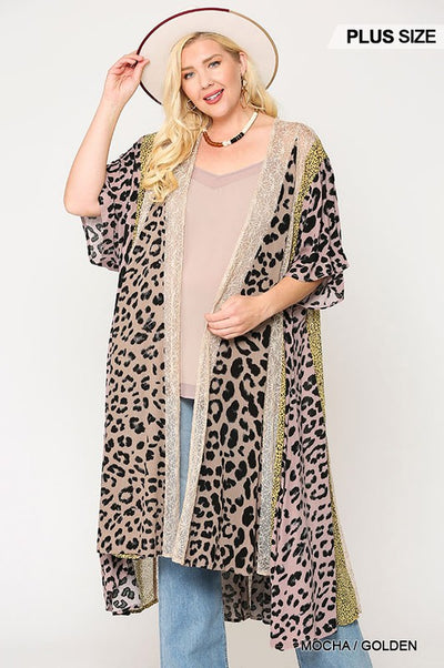 Charming You Boutique | Trendy Plus Size Women Leopard Kimono , mocha