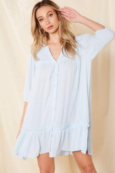 Charming You Boutique | Women's Button Front Mini Dress, sky blue