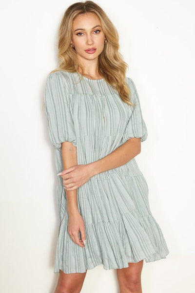 Charming You Boutique | Women's Ruffled Tier Mini Dress, sage