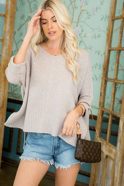 Charming You Boutique | Women's Top | Hi-Low Soft Stretch Knit Sweater