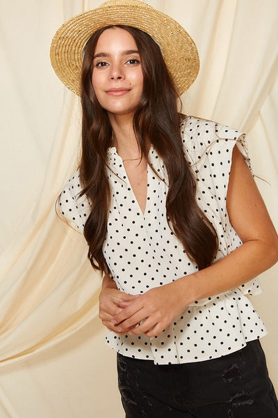 Charming You Boutique | Women's Top | V-Neck Polka Dot Ruffled Blouse