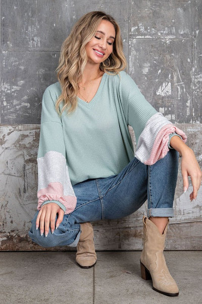 Charming You Boutique | Women's Tops | V-Neck Long Sleeve Color Block