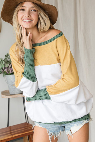Charming You Boutique | Women's Top | Long Dolman Sleeve Color Block