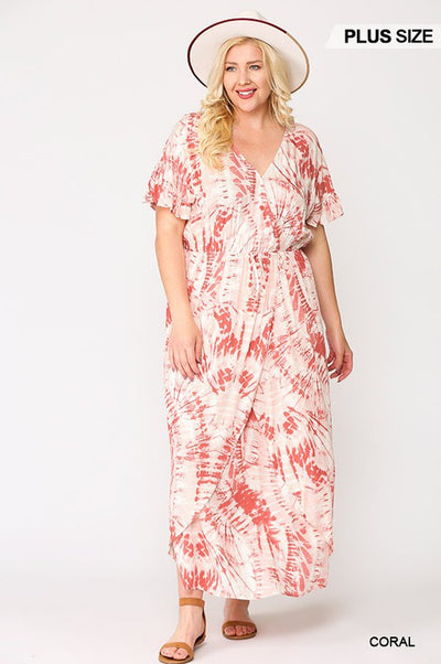 Charming You Boutique Plus Size Short Sleeve Tie Dye Maxi Dresses, coral