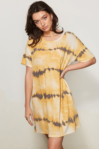 Charming You Boutique | Women's Short Sleeve Tie Dye Mini Dress, mustard