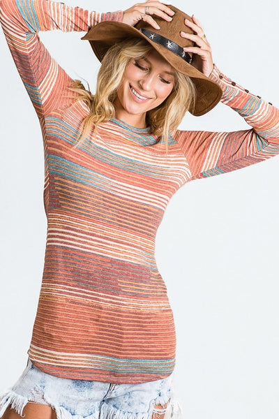 Charming You Boutique | Women's Top | Long Sleeve Multi Color Stripe