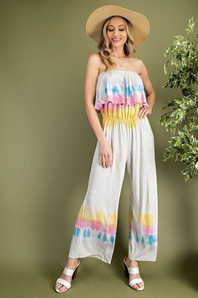 Charming You Boutique | Women's Bottom | Tube Ruffled Tie Dye Jumpsuit