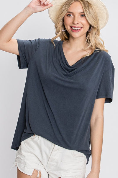 Charming You Boutique | Women's Top | Washed Solid Short Sleeve Casual