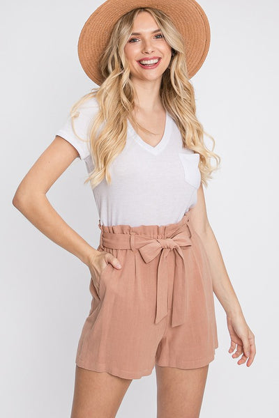 Charming You Boutique | Women's Bottom | Rayon Linen Belted Shorts