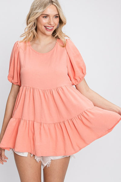 Charming You Boutique | Women's Top | Solid Puff Sleeve Babydoll Top