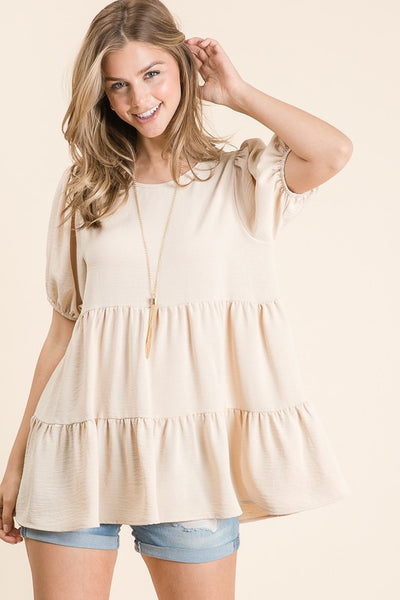Charming You Boutique | Women's Top | Solid Puff Sleeve Babydoll Top, TAUPE