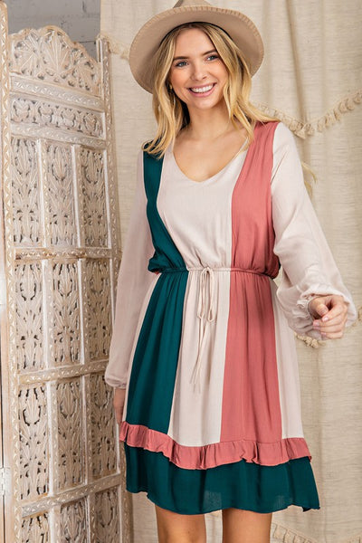 Charming You Boutique | Women's Dress | Long Sleeve Color Block Midi