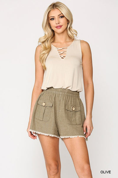 Charming You Boutique | Women's Cotton Frayed Hem Shorts, olive