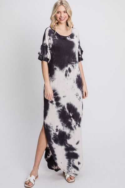 Charming You Boutique | Women's Short Sleeve Tie Dye Maxi Dress, black