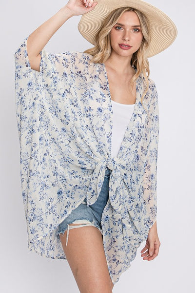 Charming You Boutique | Women's Outerwear Floral Print Kimono Cardigan