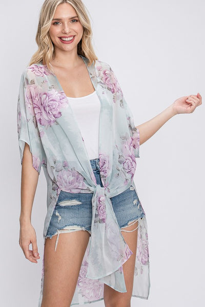 Charming You Boutique | Women's Floral Print Chiffon Kimono , sage