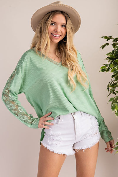 Charming You Boutique | Women's Solid Long Sleeve V-Neck Shirts