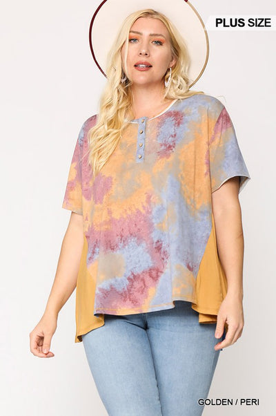 Charming You Boutique | Women's Plus Size Short Sleeve Tie Dye Shirt, golden