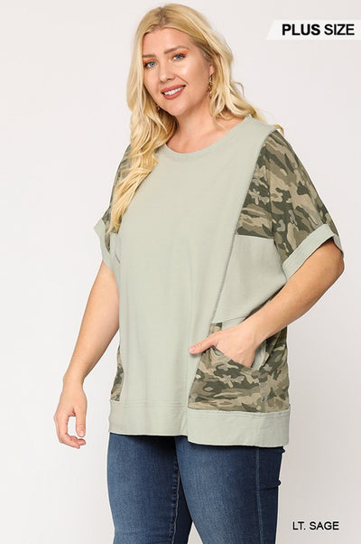 Charming You Boutique | Cute Plus Size Women's Camo Pockets Top, LT Sage