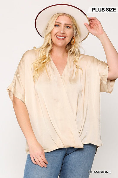 Charming You Boutique | Plus Size Women's Twisted Blouse Top, champagne