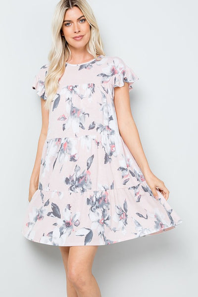 Charming You Boutique | Women's Floral Babydoll Mini Dress, blush