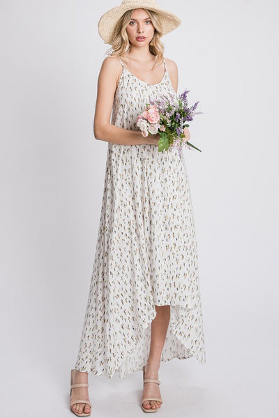 Charming You Boutique | Women's Sleeveless Print Maxi Dress, ivory