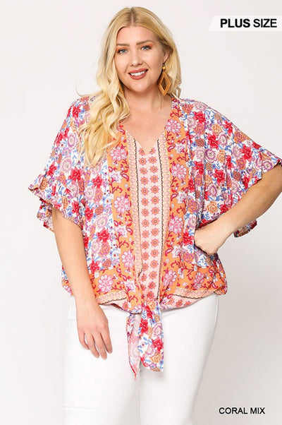 Charming You Boutique | Plus Size Women's Floral V-Neck Blouse, coral