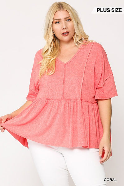 Charming You Boutique | Plus Size Women's Short Sleeve Top, coral