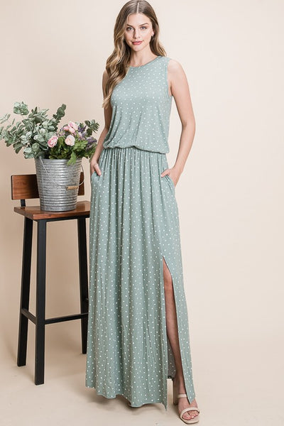 Charming You Boutique | Women's Sleeveless Printed Maxi Dress, sage