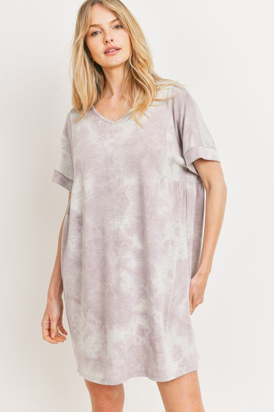 Charming You Boutique | Women's Tie Dye Short Sleeve Knit Dress, lilac