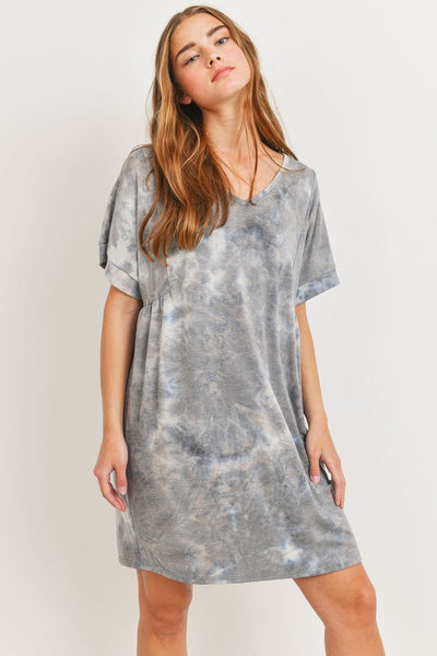 Charming You Boutique | Women's Tie Dye V-Neck Knit Dress, grey