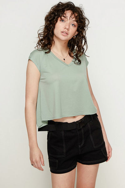Charming You Boutique | Women's V-Neck Pleat Back Tee, sage