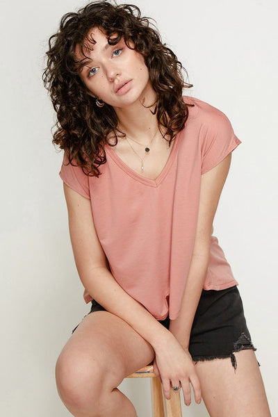 Charming You Boutique | Women's V-Neck Pleat Back Tee, salmon