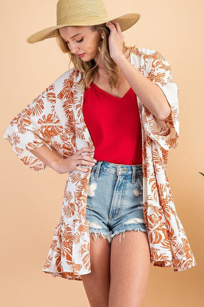 Charming You Boutique | Women's Tropical Tiered Hem Kimono, coral
