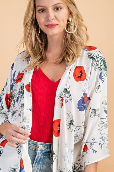 Charming You Boutique | Women's Short Sleeve Floral Print Kimono, ivory