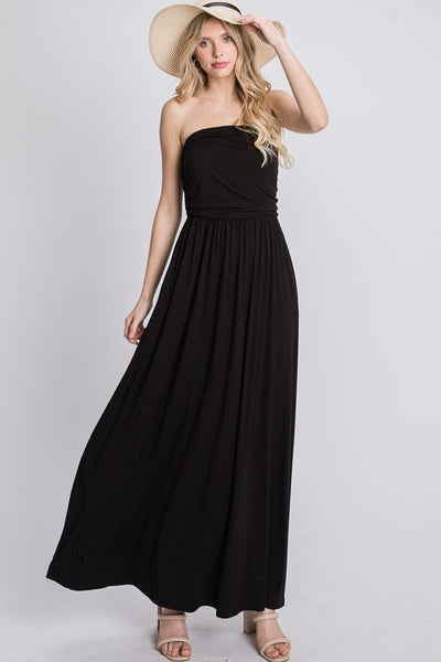 Charming You Boutique | Women's Solid Tube Top Maxi Dress, black