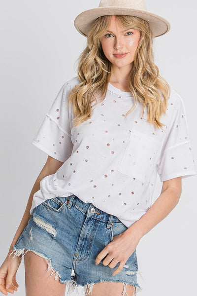 Charming You Boutique | Women's Distressed Casual Top, white
