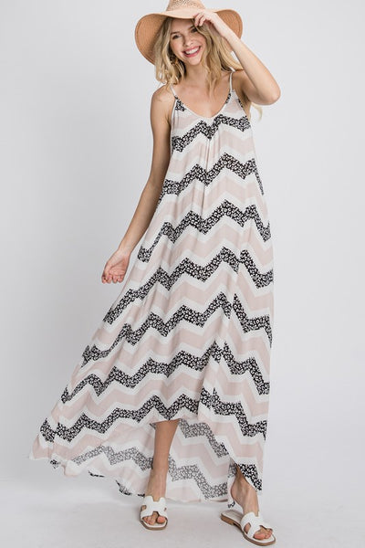 Charming You Boutique | Women's Chevron Print Maxi Dress, taupe