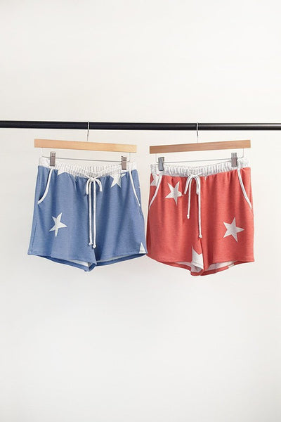 Charming You Boutique | Women's Red and Blue Star Shorts, blue and red