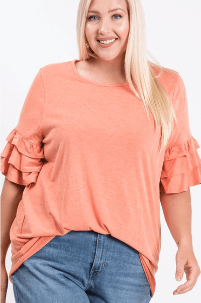 Charming You Boutique | Women's Top | Plus Size Ruffled Sleeve Top