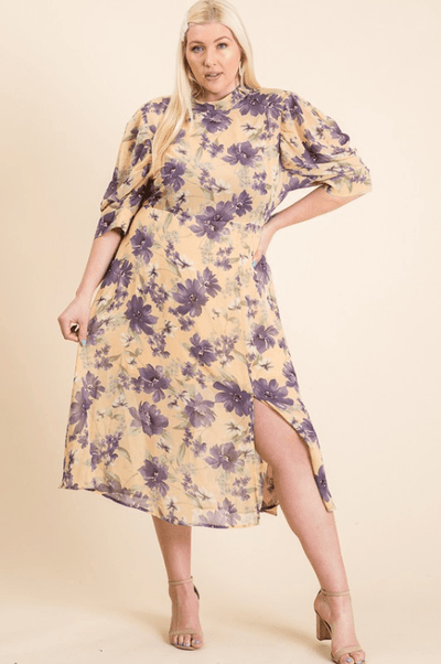 Charming You Boutique | Women's Dress | Plus Size Woven Floral Puff